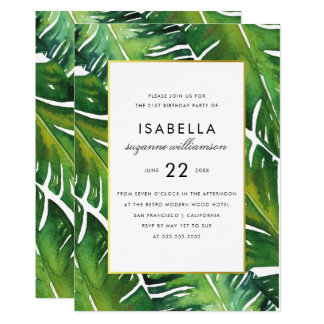 Modern Green Tropical Leaves Birthday Party Card