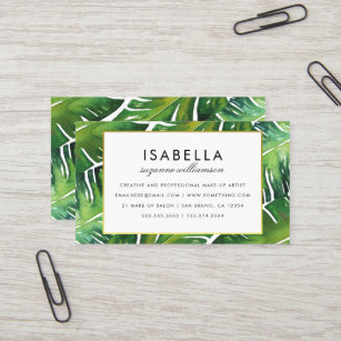 modern green tropical leaves business card