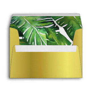 Modern Green Tropical Leaves Wedding Envelope