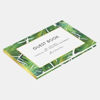 Modern Green Tropical Leaves Wedding Guest Book