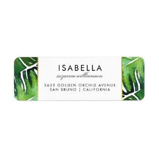 Modern Green Tropical Leaves Wedding Label
