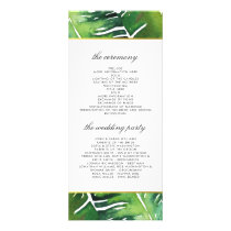 Modern Green Tropical Leaves Wedding Program