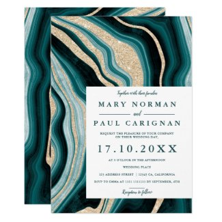 Modern gold, green turquoise wedding invitations, agate marble chic