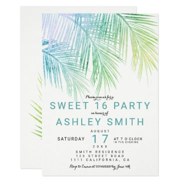 Beach Themed Modern green turquoise palm tree chic Sweet 16 Card