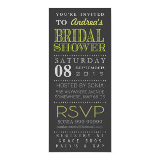 "Modern Green Typography Bridal Shower Long 4"" X 9.25"" Invitation Card"