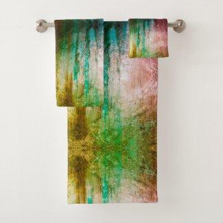Modern green vivid pattern art bath towel set