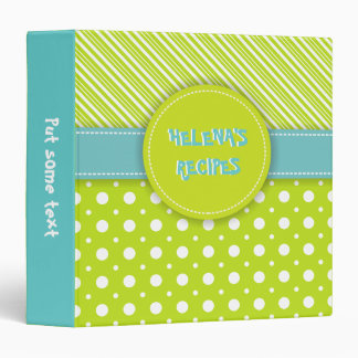 Modern green, white, aqua polka dot & stripes 3 ring binder