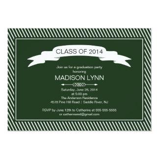 Modern Green White Graduation Party Invitation