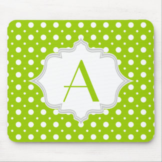 Modern green, white polka dot pattern & monogram mouse pad
