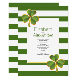 Modern green, white stripes Irish clover wedding Card