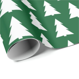 Modern Green White Trees Geometric Pattern Wrapping Paper