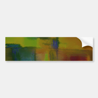 Modern Green Yellow Abstract Car Bumper Sticker