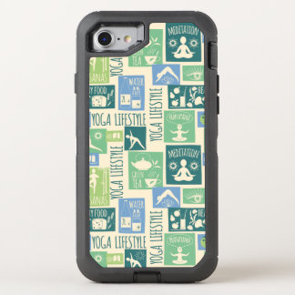 Modern green Yoga Pattern OtterBox Defender iPhone 7 Case
