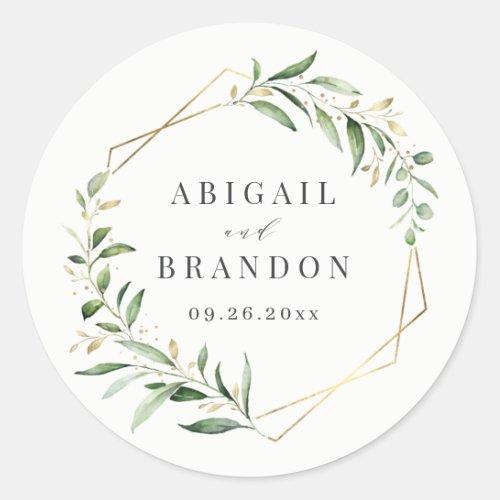 Modern Greenery Gold Geometric Rustic Wedding Classic Round Sticker