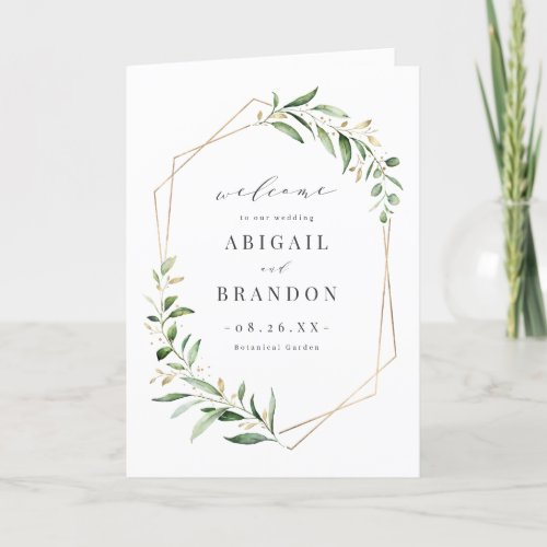 Modern Greenery Gold Geometric Rustic Wedding Program