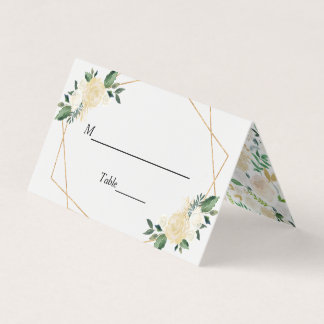 Modern Greenery Gold Ivory Floral Wedding Table Place Card