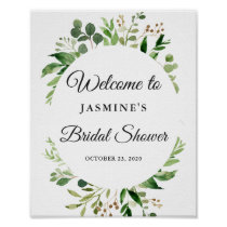 Modern Greenery Leaves Wreath Bridal Shower Sign
