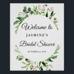 "Modern Greenery Leaves Wreath Bridal Shower Sign<br><div class=""desc"">Modern Greenery Leaves Wreath Frame Bridal Shower Welcome Sign Poster</div>"