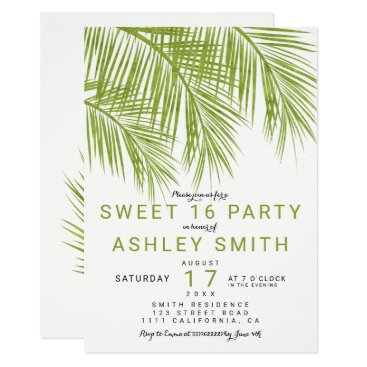 Beach Themed Modern greenery palm tree elegant Sweet 16 Card