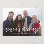 "Modern Greetings Holiday Photo Card<br><div class=""desc"">Modern holiday card featuring the phrase &quot;Season&#39;s Greetings&quot; in a white handwritten script. Your photo is displayed behind. The back features a navy and white geometric pattern.</div>"