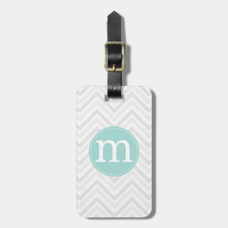 Modern Grey and White Chevron Personalized Tags For Luggage