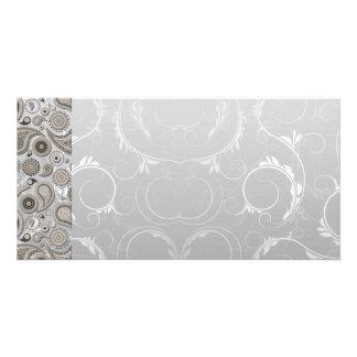 Modern Grey and white paisley pattern Photo Card