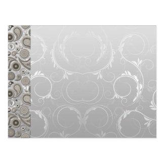 Modern Grey and white paisley pattern Postcard