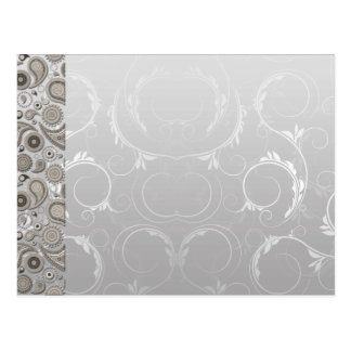 Modern Grey and white paisley pattern Postcards