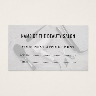 Modern Grey Black Hair Salon Appointment Card