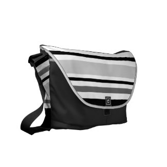 Modern Grey, Black, White Stripes Messenger Bag
