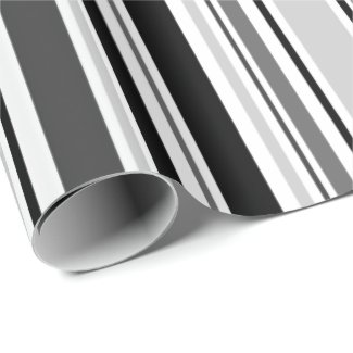 Modern Grey, Black, White Stripes Wrapping Paper