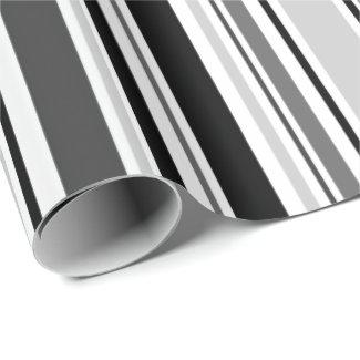 Modern Grey, Black, White Stripes Wrapping Paper