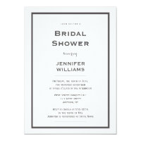 Modern grey border bridal shower invitations