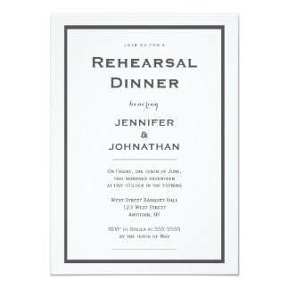 Modern grey border rehearsal dinner invitations