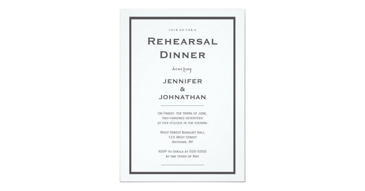 Modern Grey Border Rehearsal Dinner Invitations Zazzle Com