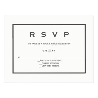 Modern grey border wedding rsvp postcards