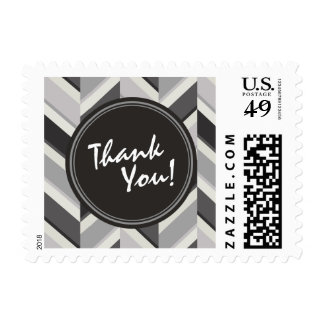 Modern grey chevron geometric pattern monogram postage