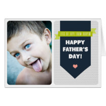 Modern Grey Chevron | Photo Father's Day Card