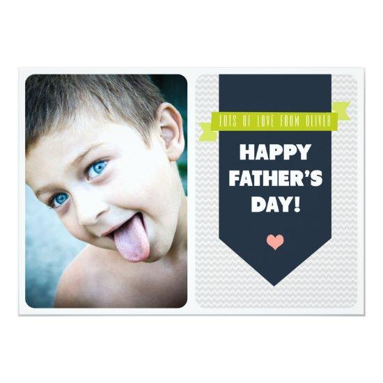 Modern Grey Chevron | Photo Father's Day Flat Card