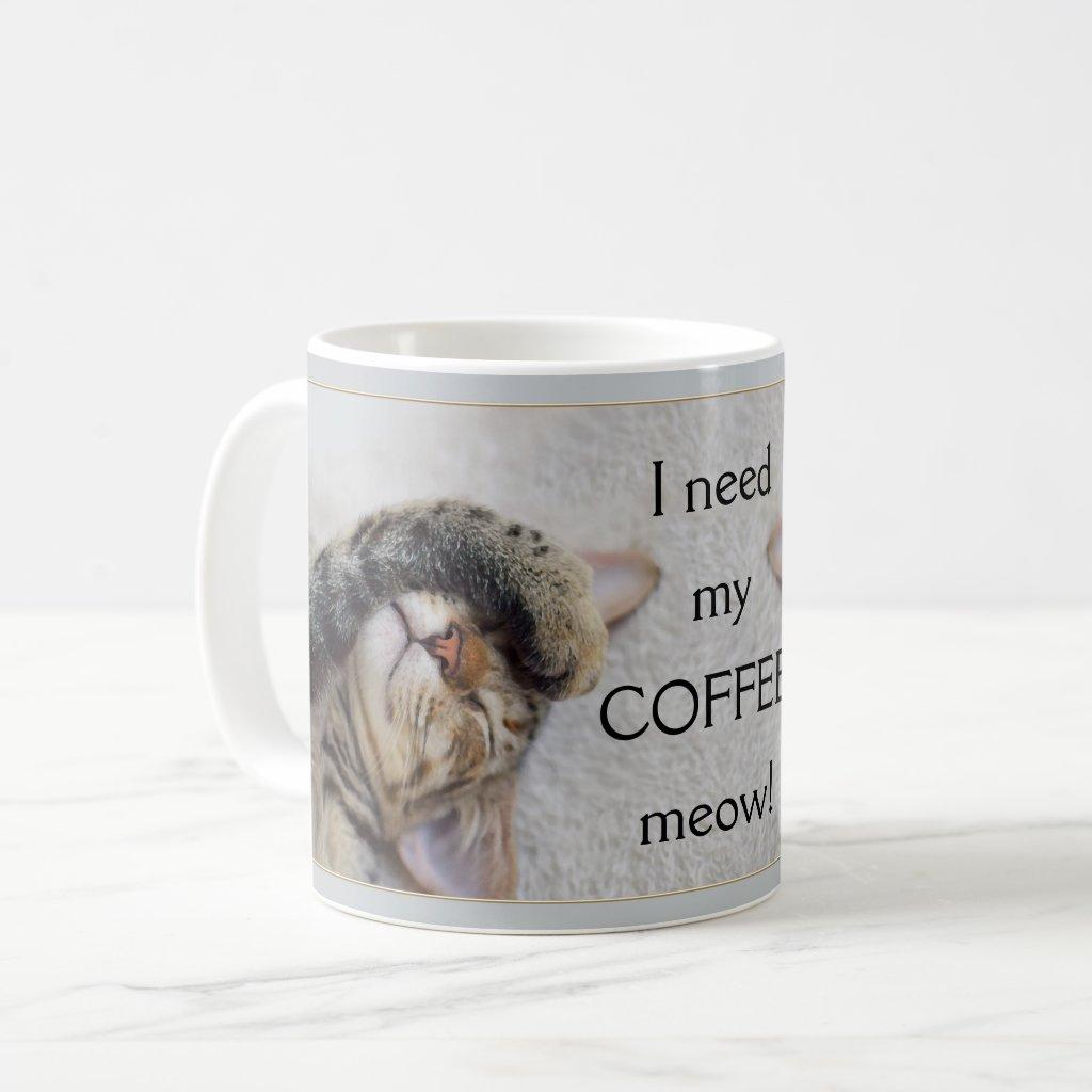 Modern Grey Cute Funny Cat Mug