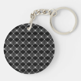 Modern Grey Diamond And Squares Pattern Keychain