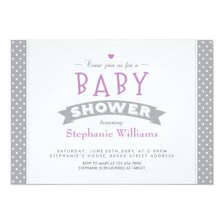 Modern Grey Dotted Baby Shower Photo Invitation