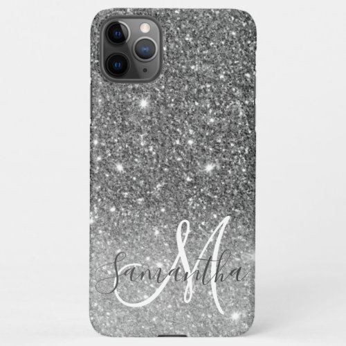 Modern Grey Glitter Sparkles Personalized Name Phone Case