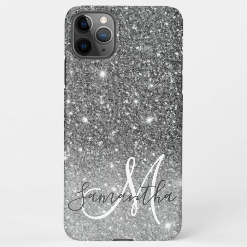 Modern Grey Glitter Sparkles Personalized Name iPhone 11Pro Max Case