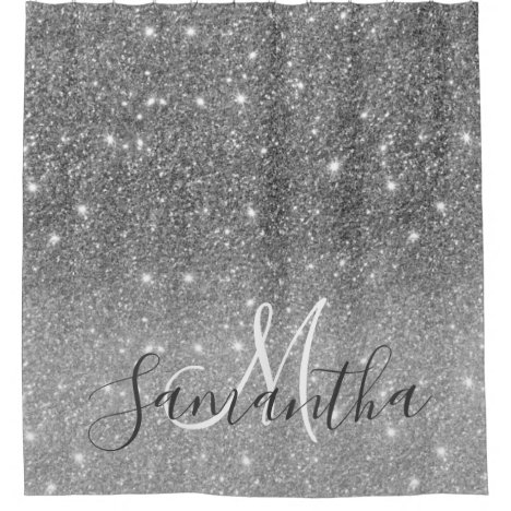Modern Grey Glitter Sparkles Personalized Name Shower Curtain