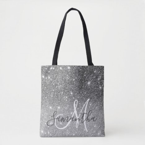 Modern Grey Glitter Sparkles Personalized Name Tote Bag