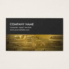 Modern Grey Gold Circuit Board Computer Repair Business Card at Zazzle