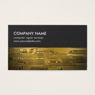 Modern Grey Gold Circuit Board Computer Repair Business Card