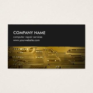Modern Grey Gold Circuit Board Computer Repair Business Card