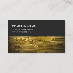 Circuit board business cards zazzle modern grey gold circuit board computer repair business card colourmoves